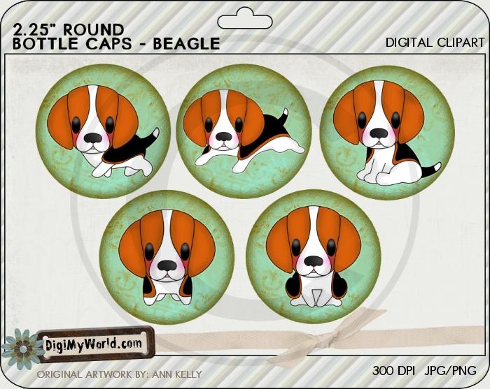 "2.25"" Beagle Pup Dog Bottle Cap"