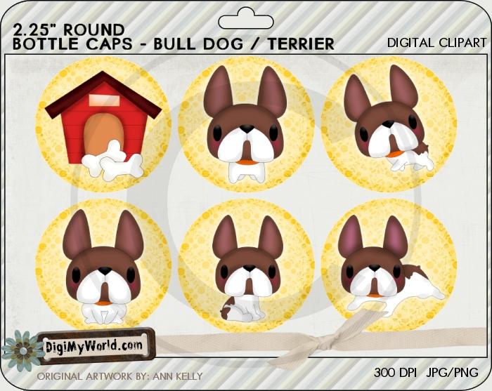 "2.25"" Bulldog Terrier Pup Dog Bottle Cap"
