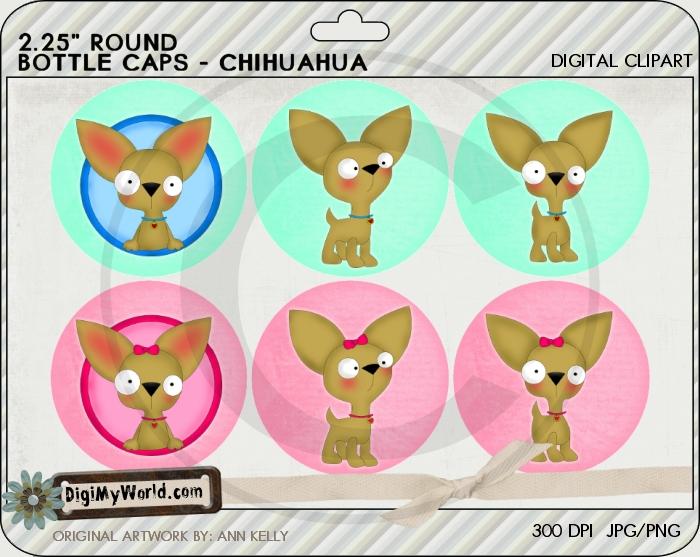 "2.25"" Chihuahua Pup Dog Bottle Cap"