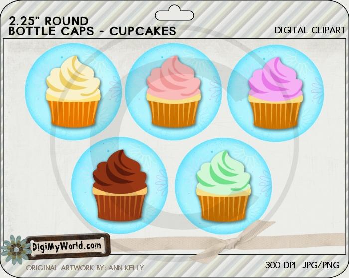 "2.25"" Cupcakes Bottle Cap"