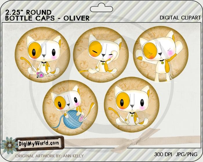 "2.25"" Oliver chibi Kitty Cat Bottle Cap"