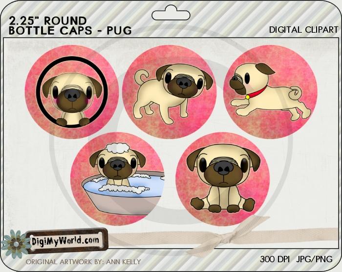 """2.25"""" Pug Pup Dog Bottle Cap"""