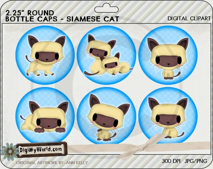 "2.25"" Siamese Kitty Cat Bottle Cap"