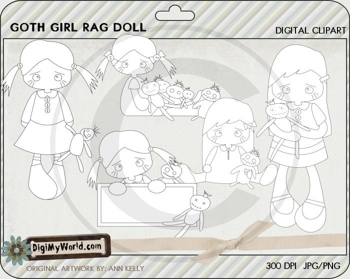 Goth Girl Rag Doll